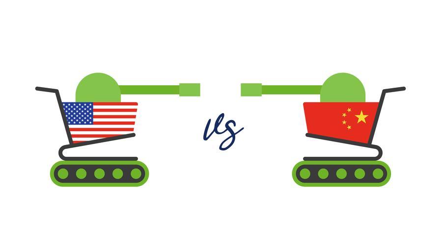 Carrinho de compras pintado bandeira EUA enfrentando com carrinho de compras pintado bandeira da China