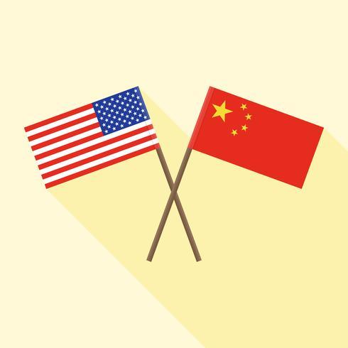 Vlag van China gekruist met en Vlag van Verenigde Staten