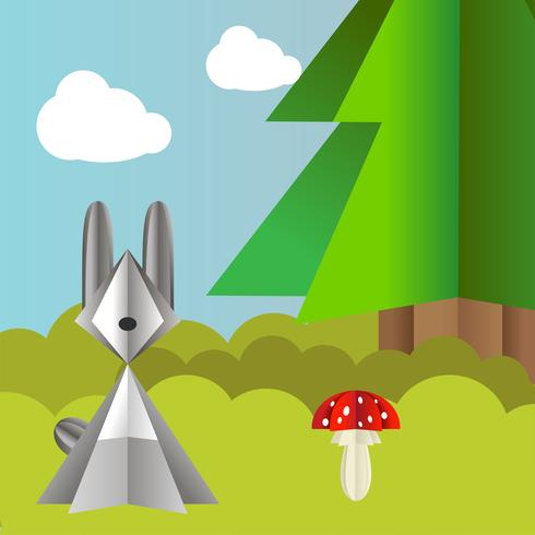 Vector autumn landscape with a hare, spruce and fly agaric