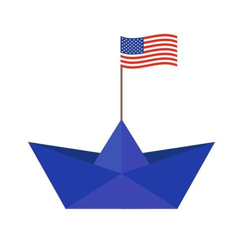 Barco de papel con bandera de estados unidos