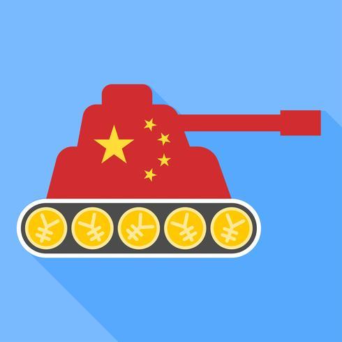 Bandera de China pintada en el vector de tanque