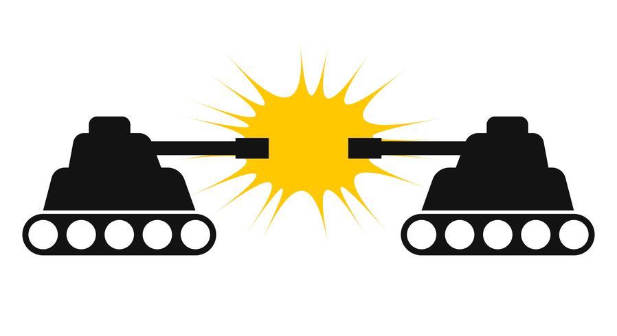 Silhouette de deux chars face à face