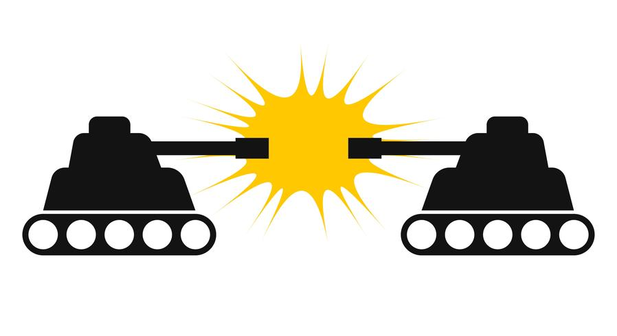 Twee tank silhouet tegenover elkaar vector