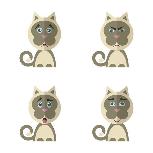 Verzameling van cute cartoon kat met verschillende emoties