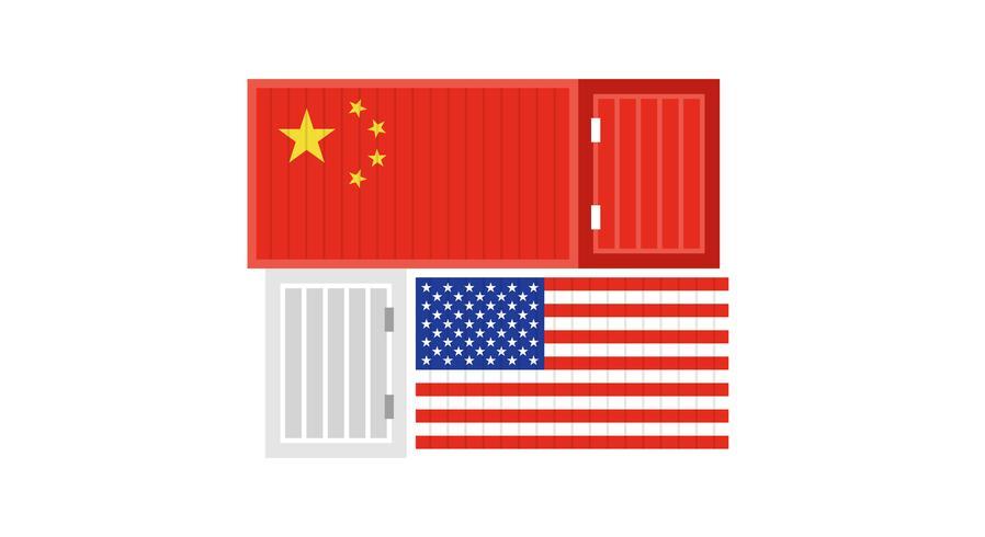 Handelsoorlog over de vectorillustratie van China en van de VS