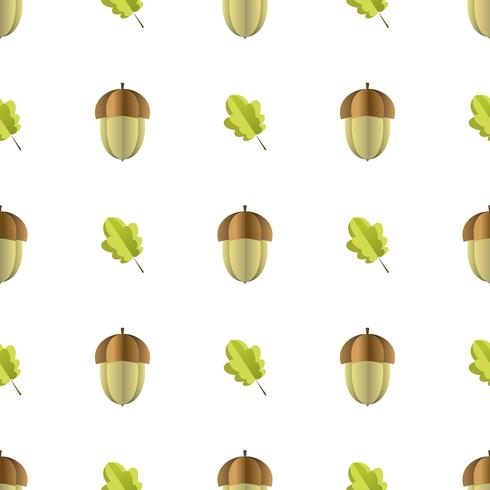 Buntes nahtloses Muster der Eichel und der Blätter schnitt vom Papier heraus
