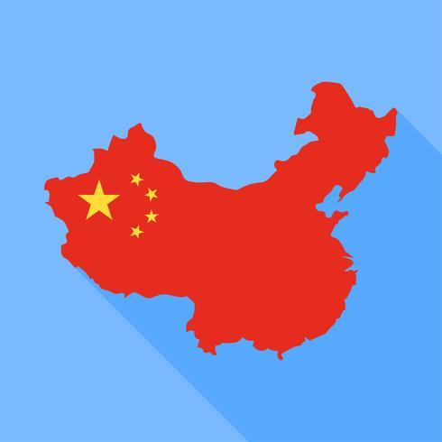 China kaart met lange schaduw vectorillustratie