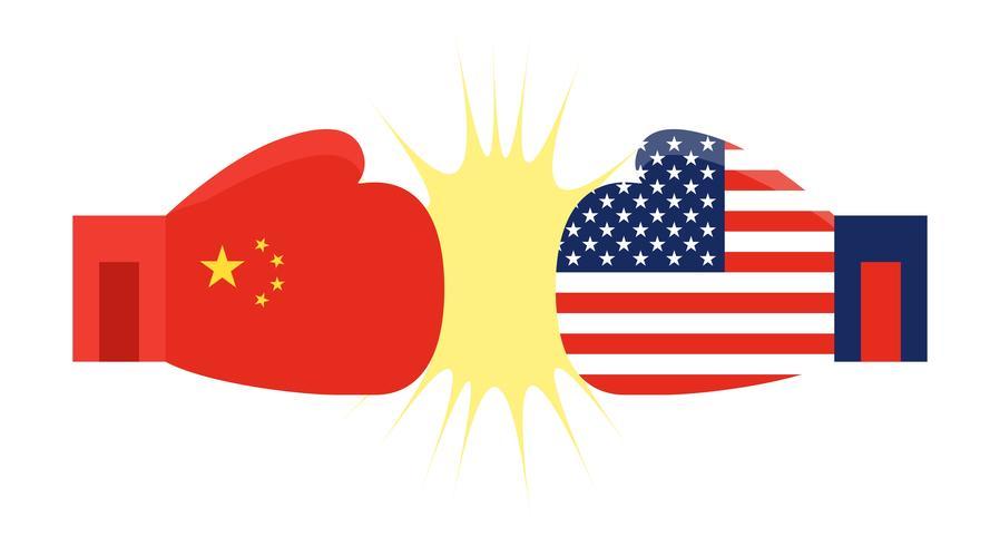 Bokshandschoenen geschilderd China vlag en bokshandschoenen geschilderd Verenigde Staten vlag