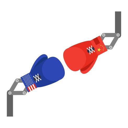 Rode en blauwe speelgoed bokshandschoenen arm