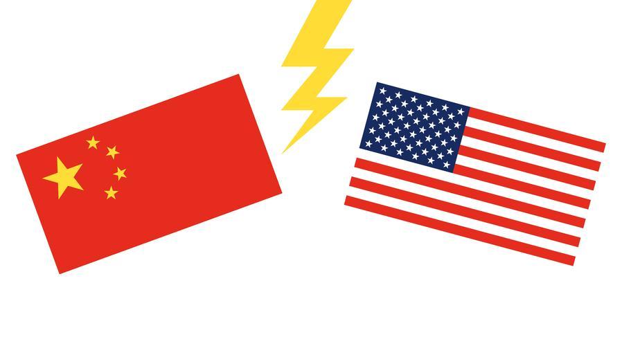 Bandera de China y Bandera de Estados Unidos