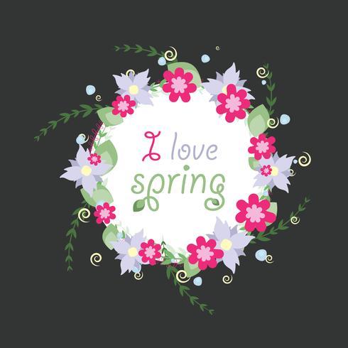 Kranz von den Frühlingsvektorblumen