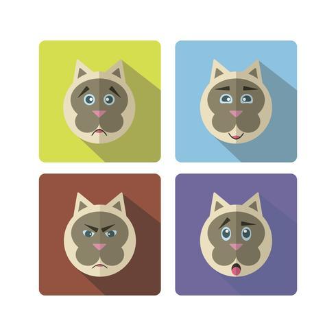Ensemble de chat mignon avec différentes émotions