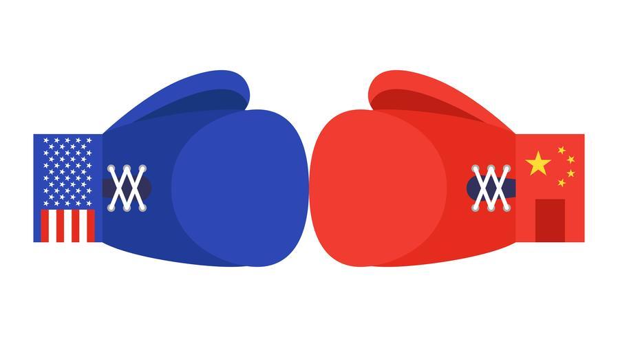 Guantes de boxeo azules y rojos con bandera de Estados Unidos y China