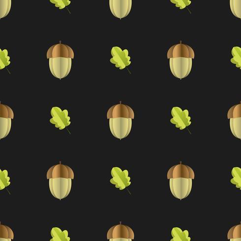 Kleurrijk naadloos patroon van eikel en bladeren die van document worden verwijderd