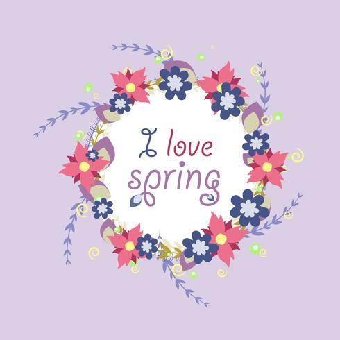 Grinalda de flores de vetor de primavera