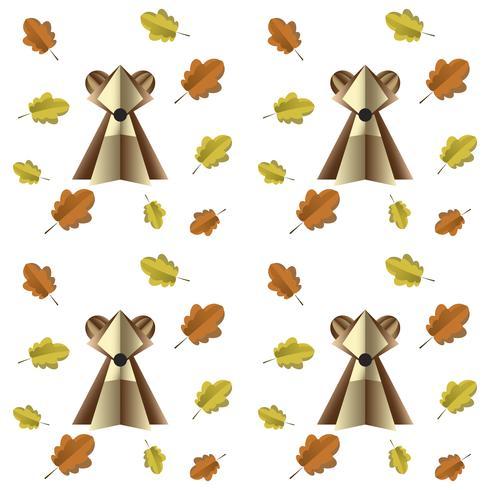 Il modello senza cuciture variopinto dell'orso bruno e delle foglie ha tagliato di carta