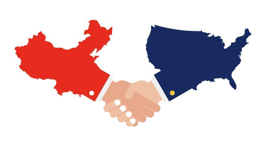 Kaart van Verenigde Staten en China kaart met handen schudden