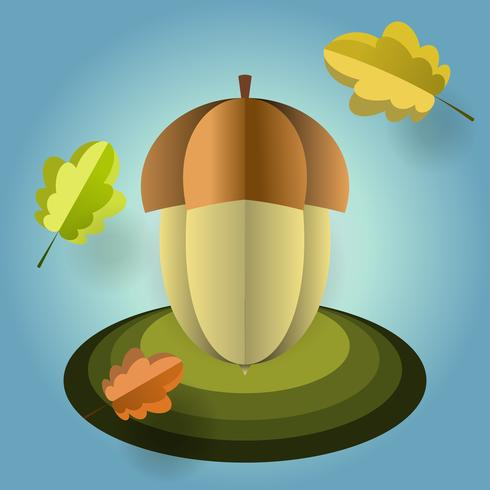 Vector acorn of paper with falling leaves