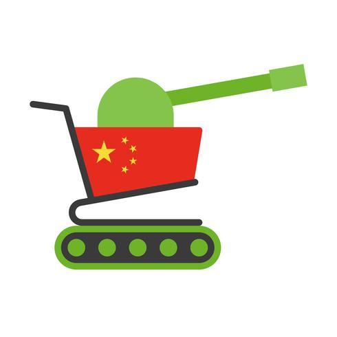 Groene winkelwagen met kanon geschilderd vlag van China