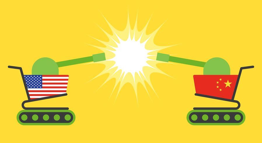 Carro de la compra, pintado con la bandera de los EE. UU. Con carrito de la compra, pintado con la bandera de China