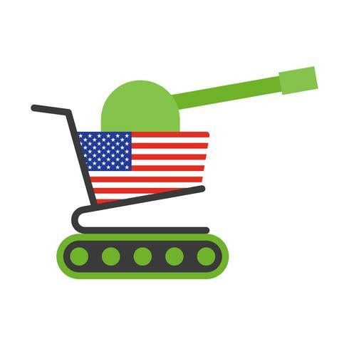Carrello verde con bandiera USA dipinta a cannone