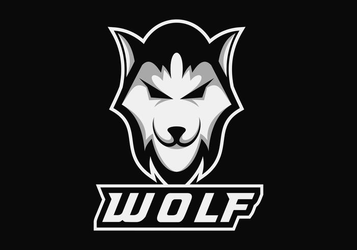 Wolf hoofd e sport mascotte vectorillustratie