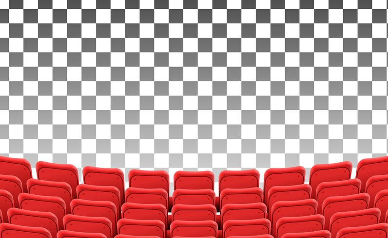 lege rode stoelen aan de voorkant theater film geïsoleerde sjabloon