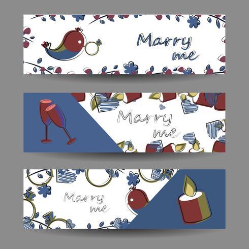 Set di banner con elementi vettoriali. Romanticismo, amore, matrimonio