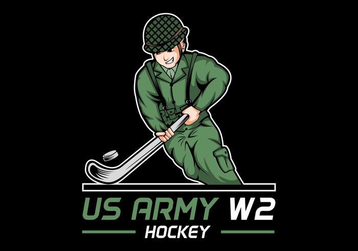 Ilustración de vector de hockey del ejército 2 guerra mundial de Estados Unidos