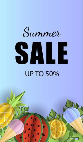 Vector zomer achtergrond banner 3d papier gesneden met ijs. Fruitananas en watermeloen. Flyer voor advertentieverkoop