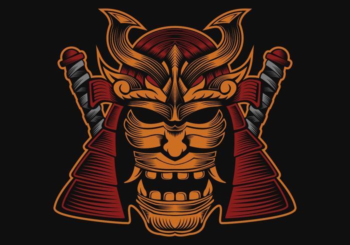 illustration de conception vecteur samouraï tête