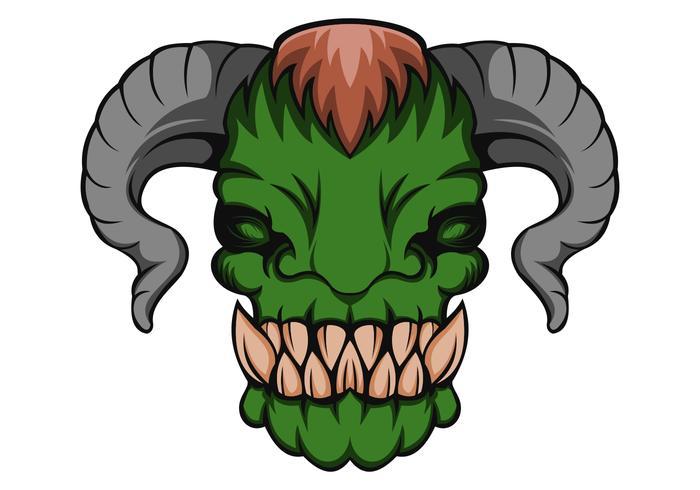 Orc monsterhuvudvektorillustration