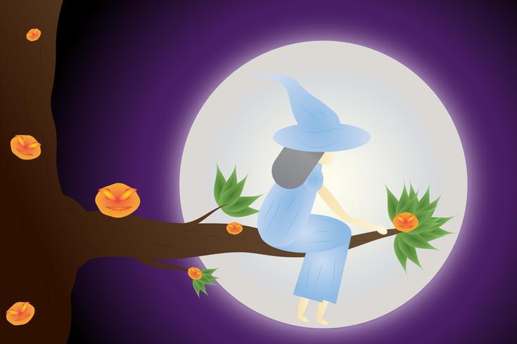 Feliz Halloween, la bruja está en las ramas en la luna, escenas de fondo, tonos de púrpura.