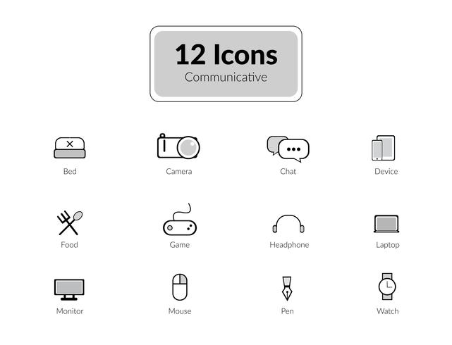 Lijn pictogrammen pack