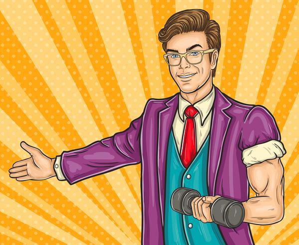 Pop-art man nodigt je uit voor de opening gym