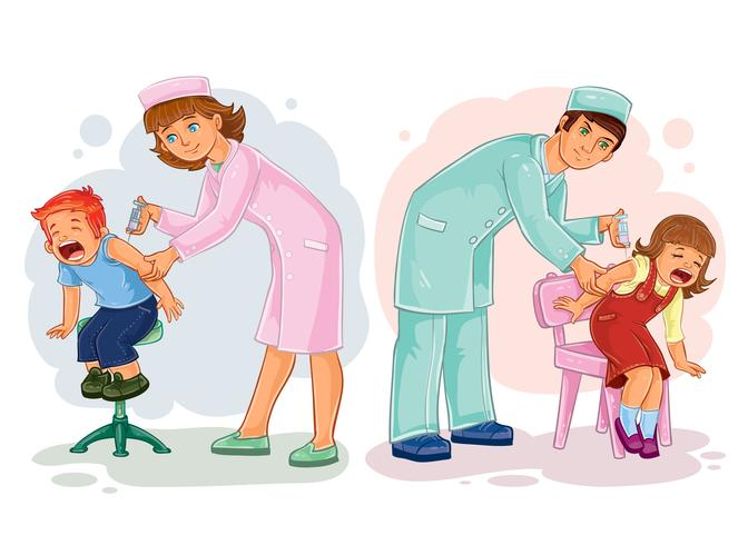 Set illustrations of little children vaccinations