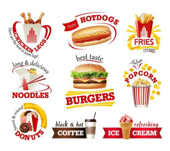 Ställ in vackra tecknade ikoner för snabbmat