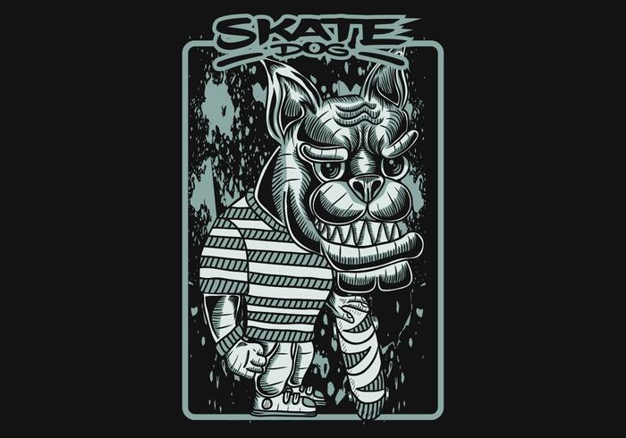 skate dog vector illustratie