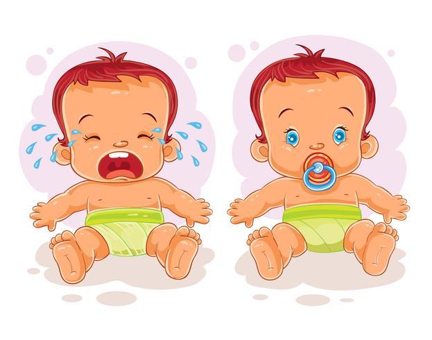 Vetorial, ilustração, dois, bebê, em, fraldas