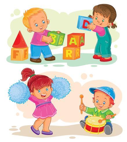Conjunto de ícones do vetor pequenas crianças brincando com brinquedos