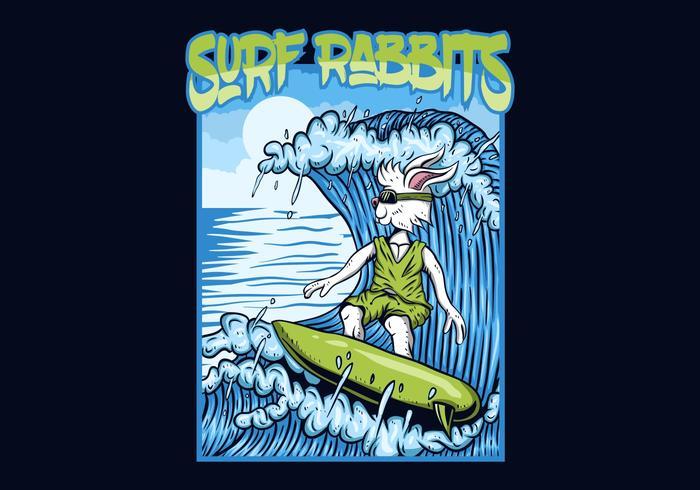 Ilustración de vector de conejos de surf