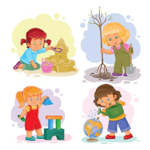 Stel pictogrammen kleine meisjes spelen met speelgoed