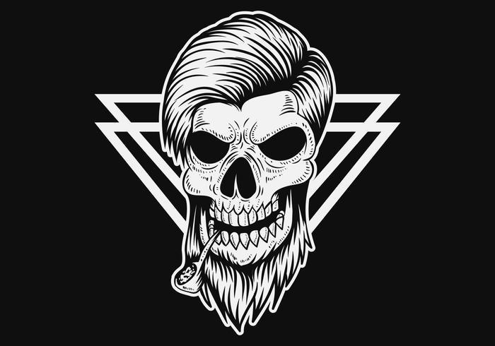 Ilustración de vector de cráneo hombre humo