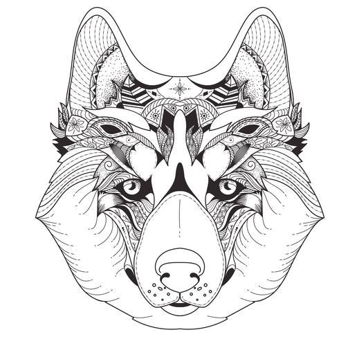 Poster met gedessineerde husky