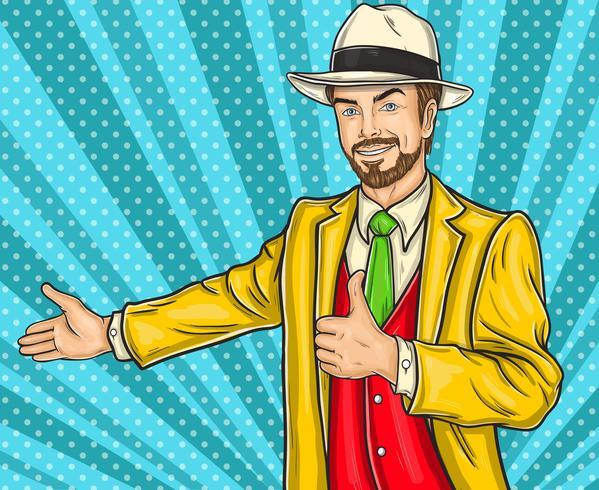 Confiante pop art hipster homem convida você para a apresentação