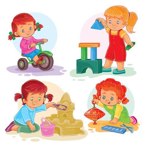 Conjunto de ícones pequenas meninas brincando com brinquedos