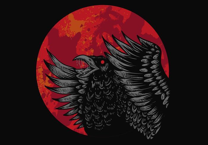 kråka röd måne vektorillustration