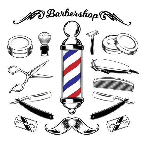 Strumenti di barbiere raccolta monocromatica di vettore.