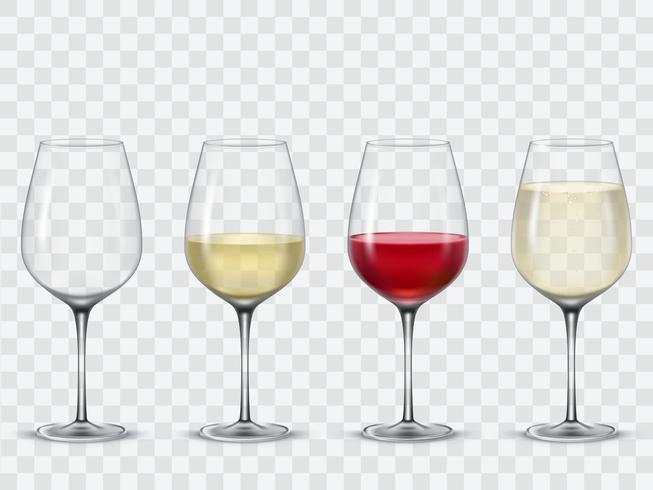 Conjunto de copos de vinho transparente vector