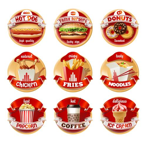 Vector set fastfood logo's, stickers